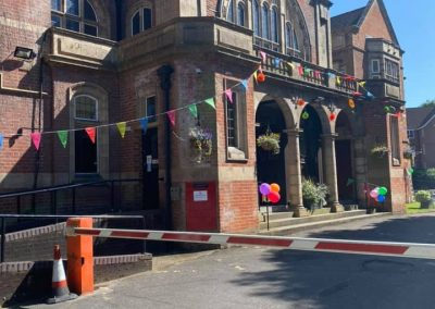 Soper Hall with bunting